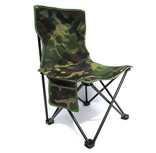 DPPAN Klappbar Tragbare Campingstuhl Klappstuhl Faltstuhl, Bequem Kompakte bis 120 Kg belastbar mit Tasche für Anglersessel Angelstuhl,Camouflage_Small