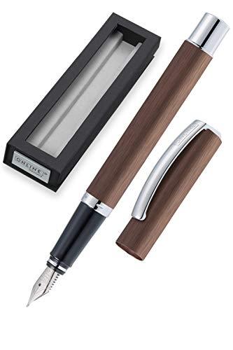 ONLINE Füller Vision Cognac, Füllfederhalter mit klarem Design, matt gebürstetes Aluminium, Iridium-Feder M, für Standard-Tintenpatronen und Konverter geeignet, Geschenkverpackung | Farbe: braun