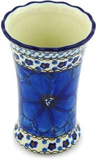 Polish Pottery Vase 4-inch Cobalt Poppies UNIKAT