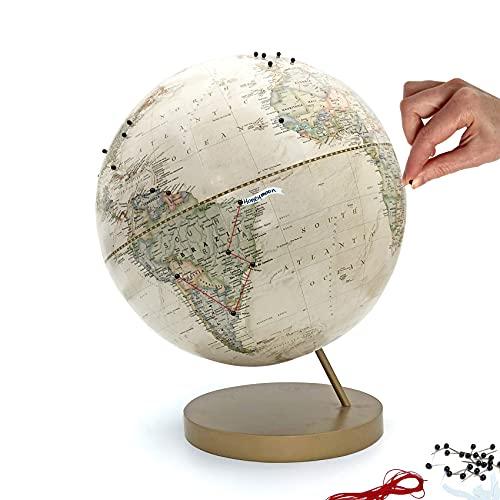 Push Pin Globe Ivory   Handmade World Travel Globe with Pins
