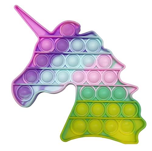 pop it unicorno arcobaleno CRAZYCHIC - Pop It Fidget Toy - Popit Push Bubble Giocattolo Bambini Adulti - Gioco Antistress Rilassante Multicolore - Poppit Color Arcobaleno Ragazza Ragazzo - Grande Unicorno