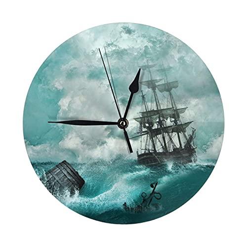 GOSMAO Reloj de Pared Redondo,Barco Pirata Sea Wave,Reloj de Escritorio Reloj Decorativo para la Oficina de la Escuela en casa