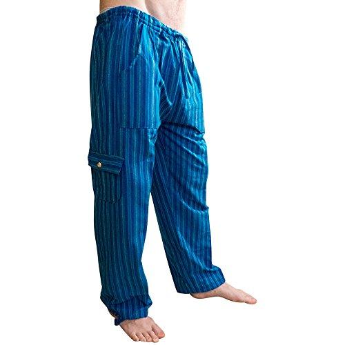 Tumia LAC Pantalones de algodón Coloridos, Comercio ético, Muy cómodos. Rayas de Azul.