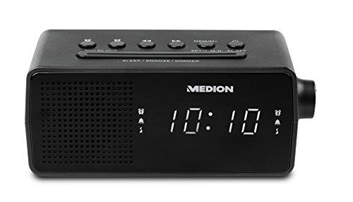 Medion E66407 PLL Uhrenradio (LED-Display, Displaydimmer, PLL-UKW-Radio, 10 Senderspeicher, Einschlafautomatik) schwarz