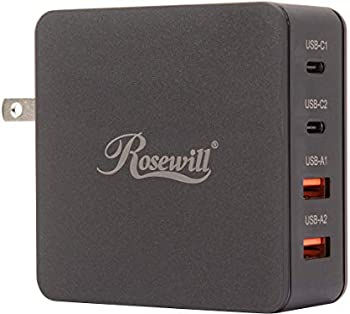 Rosewill 66W 4-Port Dual QC3.0 and Dual USB-C Wall Charger with PD