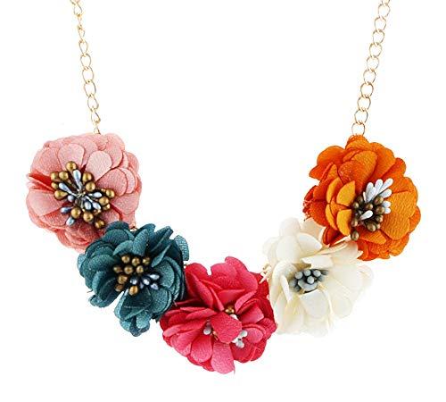 Ketting bloemen vrouw - doek - nep bloemen - elegant - meisje - mode - slinger - kerstmis - origineel cadeau-idee - kostuumjuwelen - verjaardag - goud - sieraden