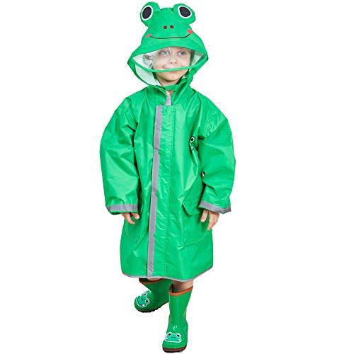LIVACASA Chubasquero Chaqueta Lluvia Niño Impermeable Capa de Lluvia Grande Sombrero con para Seguridad con Advertencia Reflectantes Viaje Vacaciones Verde Talla S