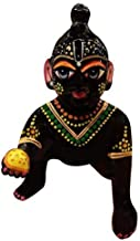 Black with Painting Laddu Gopal/Baby Krishna/Thakurji Murti Idol Statue Sculpture-VRINDAVANBAZAAR.COM- 2 no.
