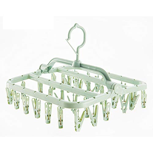 PDBQ Laundry Drying Rack with 32 Clips,Clothespin Rack Foldable Laundry Drying Rack Drip Hanger for Drying Socks,Bras,Towel,Baby Clothes,Cloth Diapers,Gloves,Underwear,Hat,Scarf,Pants (Light Green)