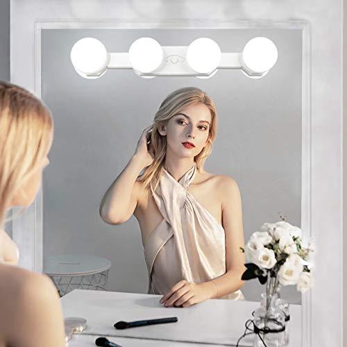 Draagbare make-up lichten, lantoos, oplaadbare professionele led-make-upspiegel, licht met 4 ledlampen, helderheid, kleurtemperatuur instelbaar, voor badkamer, kleedkamer, cosmetica-tafel