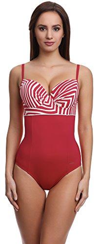 Feba Damen Push-Up Badeanzug Scarlet figurformend (Schwarz/Weiß/Gelb, Cup 80 B / 40)