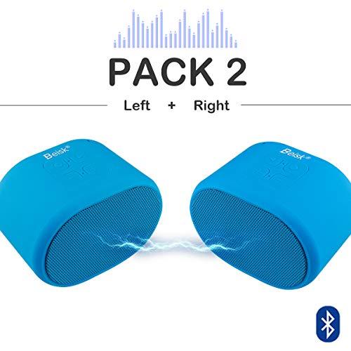 Beisk, Pack 2X Mini Altavoz Bluetooth Portátil con 8-10 Horas de Reproducción, Sonido Estéreo 360º, Radio FM, TWS, Ideal para Camping, Playa, Viaje, Fiesta, Hogar, Color Azul