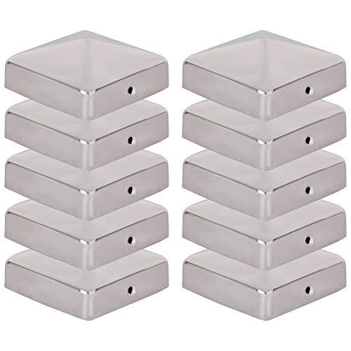 VIIRKUJA 10 x Edelstahl Pfostenkappe für Zaunpfosten (71x71mm) | Pyramiden Form | Abdeckkappe für Holzpfosten