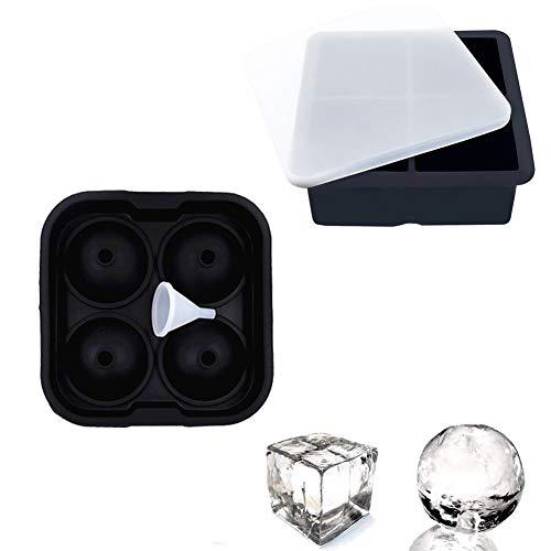 Amadon Silikon-Eiswürfelschale Wiederverwendbare Kombiformen Sphere Ice Ball & Square Maker Verwendung Für Milchsaftcocktails Whiskypartikelform