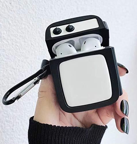 Wuqiang For Apple AirPods Funda Protectora del Medio Generación inalámbrico Universal Retro TV Set Bluetooth for Auriculares (Blanco)