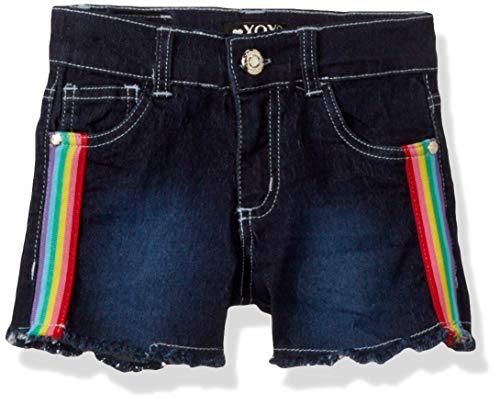 XOXO Girls' Toddler Stretch Denim Short, Dark Blue Rainbow, 3T