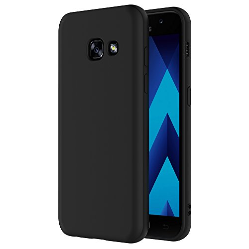 AICEK Funda Compatible with Samsung Galaxy A3 2017, Negro Silicona Fundas para Galaxy A3 2017 Carcasa for A320 (4,7 Pulgadas) Negro Silicona Funda Case