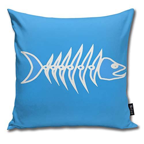 QUEMIN Fish Bone Skeleton Line Pillow case, Comfortable Cotton Pillow case for Sofa, Living Room, Sofa,Decorative Square Pillow case 18 x 18 inch