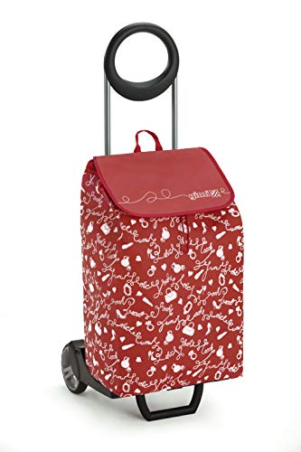 GIMI Easy Portaspesa, Einkaufswagen, TNT-Tasche, Inhalt 30 kg, mit Schirmständer, Inhalt 50 l, Stahl / Harz, Rot, 39 x 39 x 102 cm