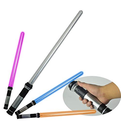 BSOA Spada Laser telescopica Giocattoli Lampeggiante Spada Cosplay Luminoso Star Wars Spade Giocattolo Giocattolo per Bambini Regalo, 2 Pezzi