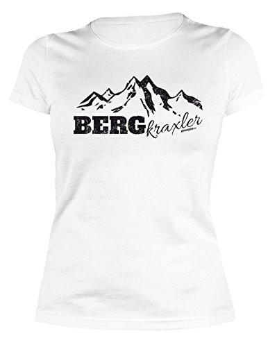 Damen T-Shirt Wandern Bergsteigen Klettern : BERGkraxler - lustiges Sprüche Sportshirt Frauen Farbe: Weiss Gr: M