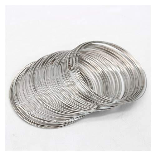 Linyuex 80 círculos 0.6 mm (24GOUGER) Pulsera de Tono de Plata de Alambre de joyería de Acero rígido para Envoltura de Alambre DIY Joyería de fabricación de Suministros