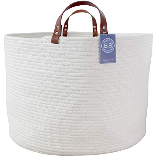 """Bijoux Basics XXL Round Woven Cotton Rope Basket with Leather Handles: Large Basket for Nursery/Laundry/Towel/Diaper/Kids Toy Storage/Organizer for Baby Boys or Girls Room; 19.7"""" x 19.7"""" x 13"""""""