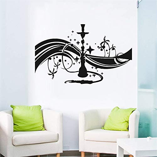 yiyiyaya Wasserpfeife Shisha Cafe Bar Lounge Wandtattoo Schlafzimmer Arabisch Vinyl Wandkunst Aufkleber Wohnzimmer Selbstklebende Wanddekor Decals gelb 92x57 cm