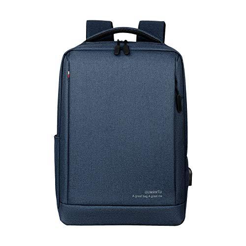 Mochila para portátil con puerto de carga USB antirrobo, resistente al agua, mochila escolar de negocios, mochila de viaje para portátil de 15,6 pulgadas, Blue, Talla única,