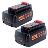 Biswaye 2 Pack 3.0Ah 40V Lithium Battery LBXR36 Replacement for Black and Decker 40V Max Cordless Power Tool LCS1240 LSWV36 LCC340C Lithium Battery LBXR36 LBXR2036 LBX1540 LBX2040 LBX2540