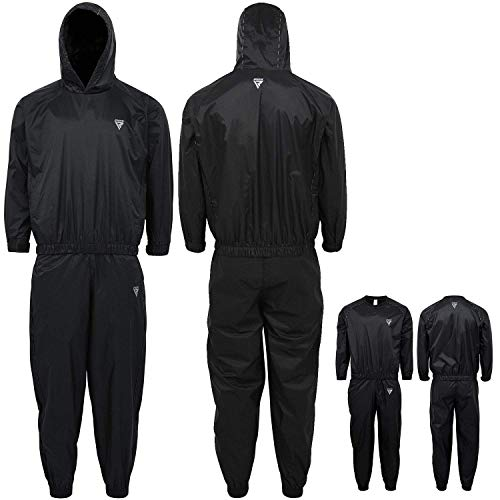 RDX Sauna Suit for Gym Workout amp Fitness Training  Sweat Suits for Men amp Women Weight Loss and Slimming Exercises – Black Hooded Tracksuit for Cardio Weightlifting Running Jogging