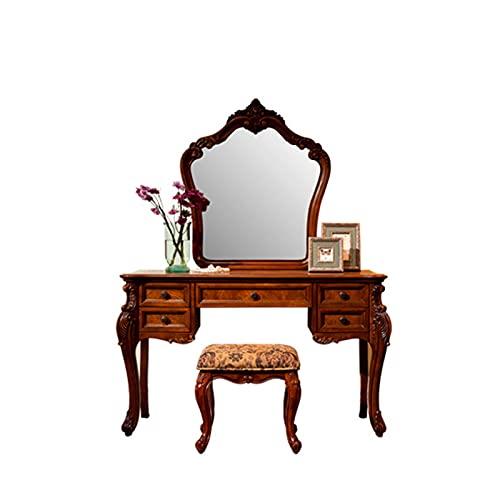 HXXXIN Toeletta in Legno Massello Camera da Letto Piccolo Appartamento Toletta Tavolino da Toeletta retrò Europeo con Sgabello per Il Trucco A Specchio