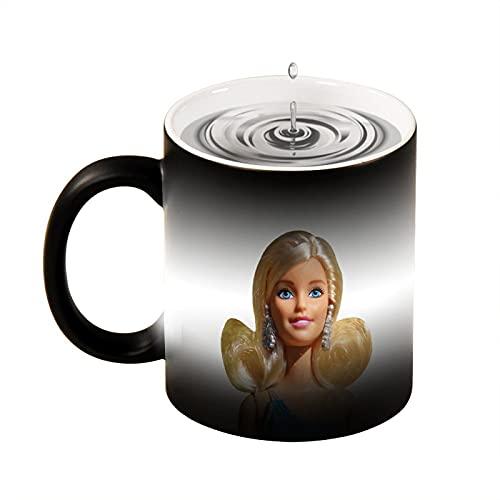 Taza de café con diseño de chica divertida avatar rubia hermosa Big Eyes,Taza de té blanca negra, oficina y hogar, apto para lavavajillas y microondas, 330 ml