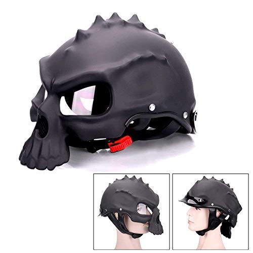 VISTANIA Black Skull Moto Casque Double Usage Half Face Capacetes Casco Nouveauté Retro Classic Moto Casque 59-62 Cm