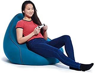 Yogibo Lounger Bean Bag for Adults, Teens, Personal Sized, Single Beanbag Lounge Chair with Raised Back or Gaming, Reading, and Relaxing, Removable, Washable Cover, Turquoise