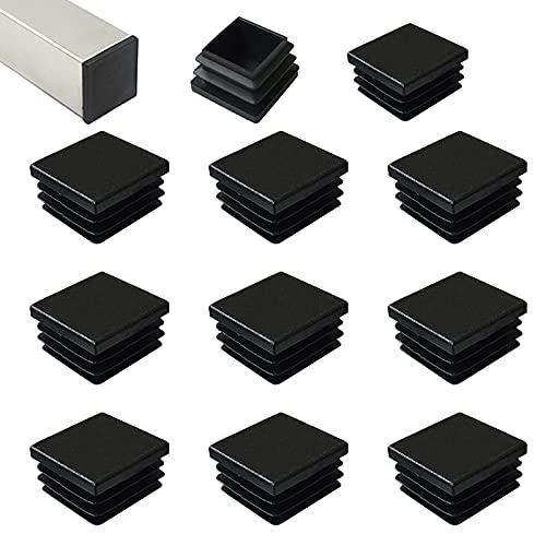 HJYZY 50mm Tappo per Tubo Quadrato nero Cappucci Terminali Tappi Lamellari per Tubi Quadrati per Tubi di Ferro/Mobili/Trampolino/Sedia 16 pezzi
