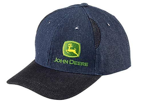 John Deere Zweifarbige Jeans Cap mit dunkelem Schirm, Akzentstreifen und gesticktem Logo