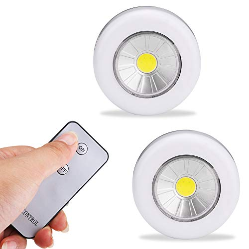 GKJRKGVF Led-onderkastverlichting, 2 stuks, met afstandsbediening, op batterijen, voor kledingkast, badkamer, keuken, verlichting