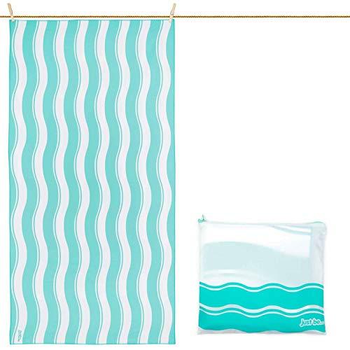 just be... Toalla De Microfibra para Playa Diseño Ondas - Verde XXL 200 x 90cm
