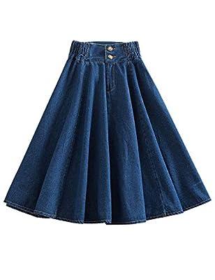Women's Casual Elastic Waist A-Line Denim Jean Skirt