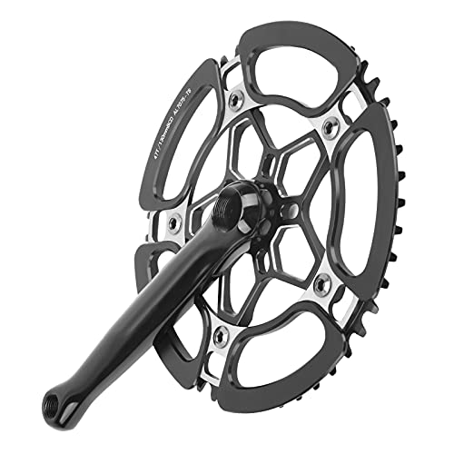 Bike Crankset, Ultra-Light Bicycle Sprocket Crank, Only Be Used for Single-Speed Sprocket, for Bicycle Mountain Bike MTB 170 MM(black)