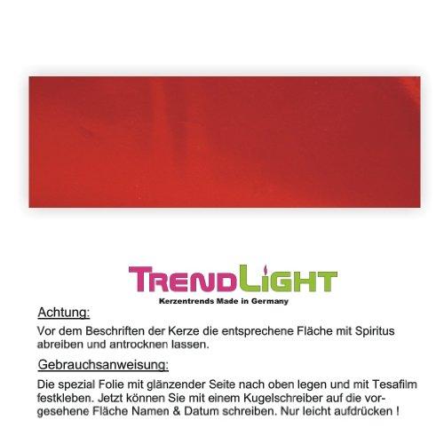 Kerzen Beschriftungsfolie hochglanz rot metallic 4 x 10 cm