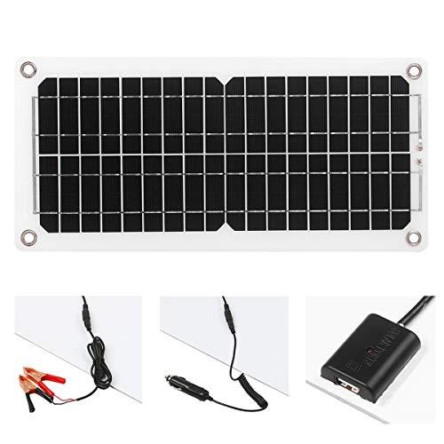 Kit de cargador de batería portátil de 12 V 10 W, con cable de carga, clip de cable, adaptador, cargador de energía solar accesorios para coche, barco, caravana, caravana