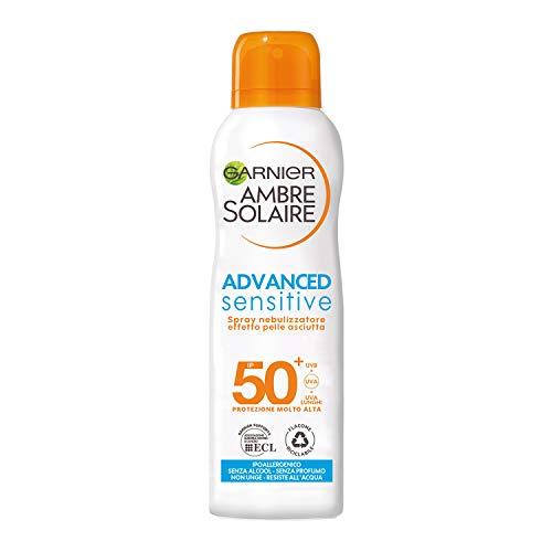 Garnier Ambre Solaire Advanced Sensitive Protezione Solare, Spray Protettivo Effetto Pelle Asciutta IP50+ senza Alcool, 200 ml