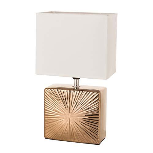 Baroni Home Lampada da Tavolo Lampada da comodino Abat Jour da Comodino Cubica Bronzo in Ceramica 18X11X32 cm