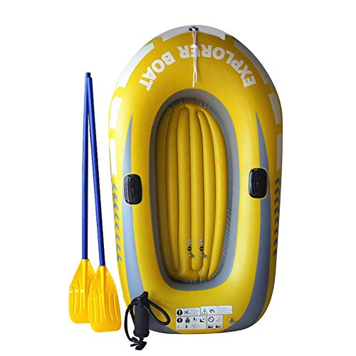 ckground Barca Gonfiabile in PVC Serie Gommone Pieghevole da Pesca alla Deriva Kayak Pontoon Boat, Dotata di 2 Remi E 1 Pompa A Pedale, può Essere Utilizzata per La Pesca All'aperto da 1 A 2 Persone