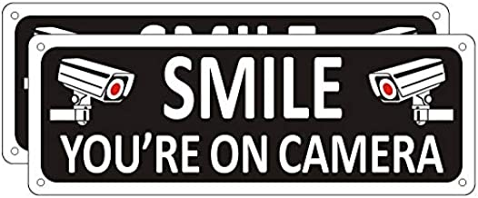 Smile You're on Camera Sign (2 Pack), Video Surveillance Sign Metal, 10