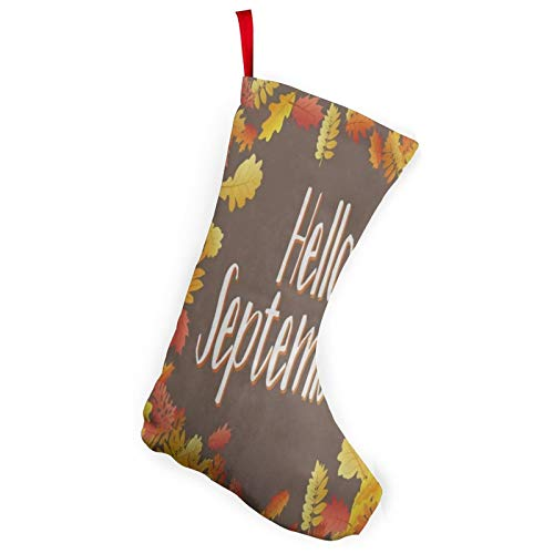 N\ A Thanksgiving Hello September Autumn Leaf Christmas Stockings Santa Gift Hooked Xmas Stocking for Christmas Tree Unique Large Decor Hanging Ornament Fireplace Holiday Party Decoration Gifts