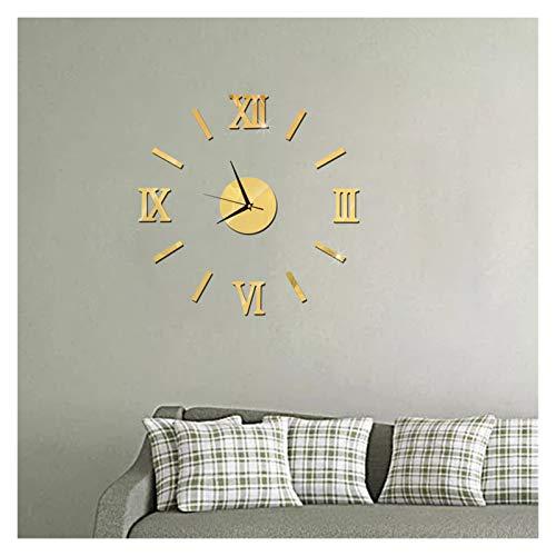 Cmdzsw Reloj de Pared Patrón Grande DIY DIY Pegatinas de Pared Decorativas en el hogar Decoración de la casa Sala de Estar Decoración del hogar Mirror Arte Reloj (Color : Gold)