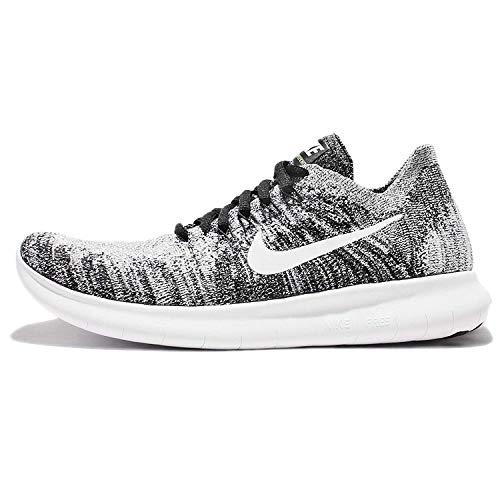Nike Womens Free RN Flyknit 2017 Running Shoe BLACK/WHITE-VOLT 11.0